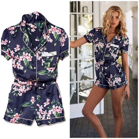 305bb9fc29e Navy Floral Satin Button-Front Sleep Lounge Romper